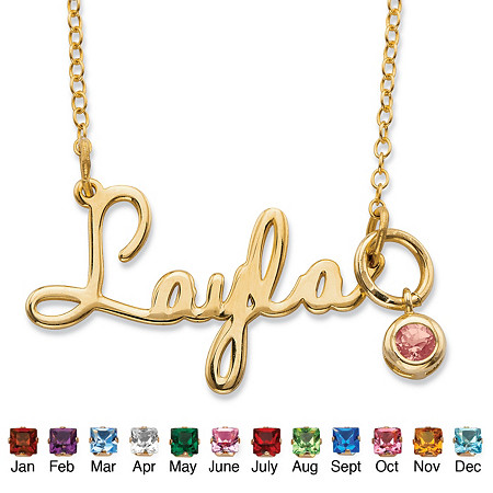 Round Birthstone Charm Nameplate Necklace in 14k Yellow Gold Over Sterling Silver 19