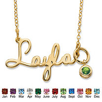 Round Simulated Birthstone Charm Nameplate Necklace in 14k Yellow Gold Over Sterling Silver 19