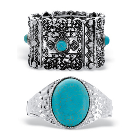 "Cabochon Simulated Turquoise 2-Piece Hammered and Stretch Bracelet Set in Silvertone 7"" at PalmBeach Jewelry"