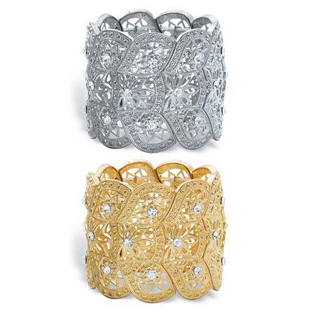 """Crystal 2-Piece Set Floral Scalloped Floral Stretch Bangle Bracelets in Gold Tone and Silvertone 7"""" at PalmBeach Jewelry"""