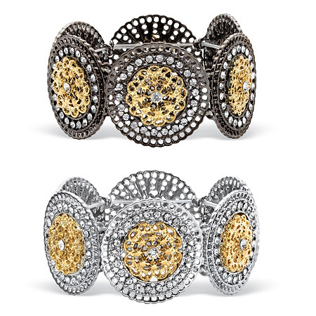 Round Crystal 2-Piece Set Stretch Bracelets in Two-Tone Black Ruthenium-Plated and Silvertone with Gold Tone Accents 7