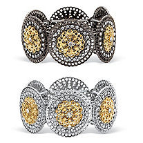 Round Crystal 2-Piece Set Stretch Bracelets in Two-Tone Black Ruthenium-Plated and Silvertone with Gold Tone Accents 7""