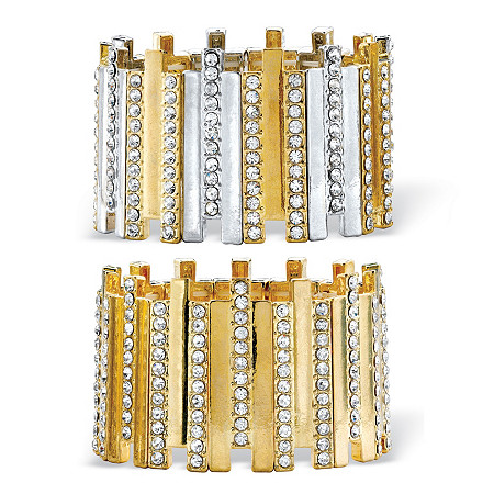 "Round Crystal 2-Piece Set Stretch Bracelet in Gold Tone and Silvertone 7"" at PalmBeach Jewelry"