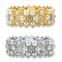 Round Simulated Pearl and Crystal 2-Piece Stretch Bracelet Set in Gold Tone and Silvertone 7""