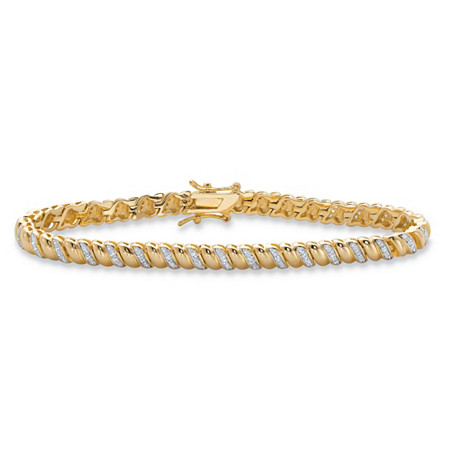 Round Diamond Accent Tennis Bracelet 3/8 TCW in 14k Yellow Gold-Plated 7.25