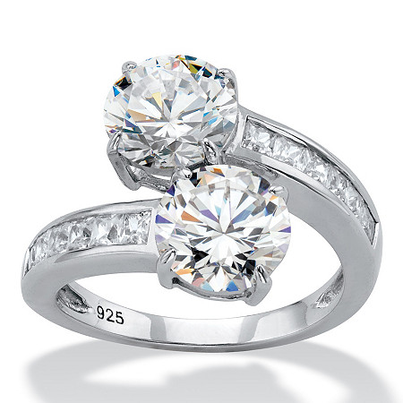 Round Cubic Zirconia and Baguette Accent 2-Stone Bypass Cocktail Ring 4.96 TCW in Sterling Silver at PalmBeach Jewelry