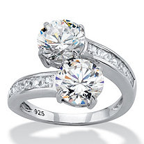 SETA JEWELRY Round Cubic Zirconia and Baguette Accent 2-Stone Bypass Cocktail Ring 4.96 TCW in Sterling Silver