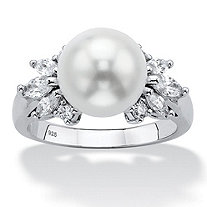 Round Simulated Pearl and Cubic Zirconia Ring .83 TCW in Sterling Silver (10mm)