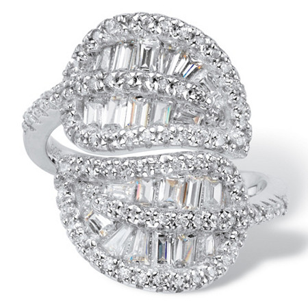 Channel-Set Tapered Baguette Cubic Zirconia Cocktail Ring 1.62 TCW in Platinum over Sterling Silver at PalmBeach Jewelry