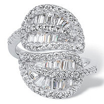 SETA JEWELRY Channel-Set Tapered Baguette Cubic Zirconia Cocktail Ring 1.62 TCW in Platinum over Sterling Silver
