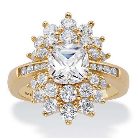 Cushion-Cut Cubic Zirconia Floral Cluster Ring 3.24 TCW in 14k Yellow Gold over Sterling Silver at PalmBeach Jewelry