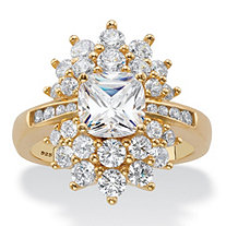 Cushion-Cut Cubic Zirconia Floral Cluster Ring 3.24 TCW in 14k Yellow Gold over Sterling Silver