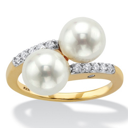 Round Simulated Pearl and Cubic Zirconia Bypass Ring .21 TCW in 18k Yellow Gold over Sterling Silver at PalmBeach Jewelry