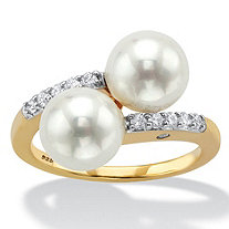 Round Simulated Pearl and Cubic Zirconia Bypass Ring .21 TCW in 18k Yellow Gold over Sterling Silver