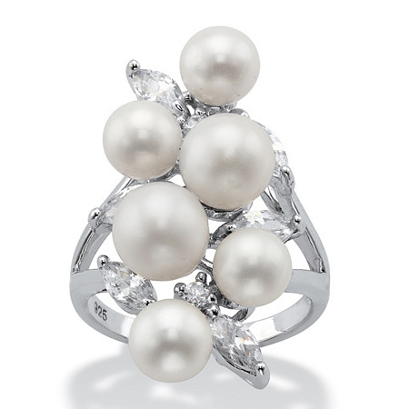 Round Simulated Pearl and Cubic Zirconia Cluster Cocktail Ring 1.57 TCW in Sterling Silver at PalmBeach Jewelry