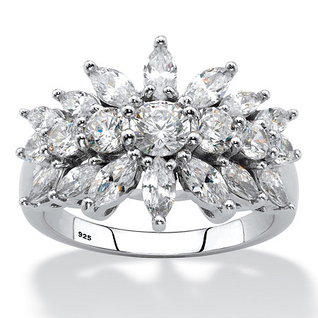 Marquise-Cut Cubic Zirconia Starburst Cluster Cocktail Ring 2.67 TCW in Sterling Silver at PalmBeach Jewelry