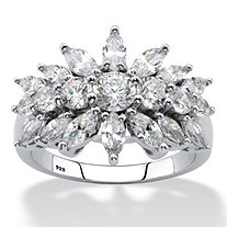 SETA JEWELRY Marquise-Cut Cubic Zirconia Starburst Cluster Cocktail Ring 2.67 TCW in Sterling Silver