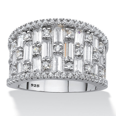 Tapered Baguette Cubic Zirconia Wide Band Ring 3.38 TCW in Platinum over Sterling Silver (22mm) at PalmBeach Jewelry