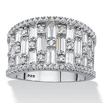 SETA JEWELRY Tapered Baguette Cubic Zirconia Wide Band Ring 3.38 TCW in Platinum over Sterling Silver (22mm)