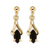 Related Item Marquise-Shaped Genuine Onyx Drop Earrings in Yellow Gold Tone
