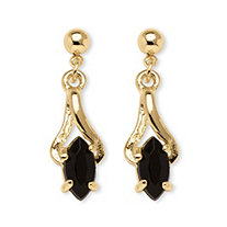 Marquise-Shaped Genuine Onyx Drop Earrings in Yellow Gold Tone