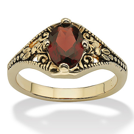 1.40 TCW Oval-Cut Genuine Garnet Vintage-Style Ring 14k Yellow Gold-Plated at PalmBeach Jewelry