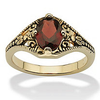 Oval-Cut Genuine Garnet Vintage-Style Ring 1.40 TCW 14k Yellow Gold-Plated