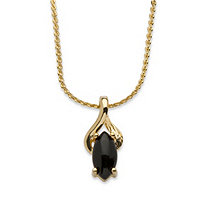 Genuine Black Onyx Yellow Gold Tone Pendant Marquise Necklace 18""