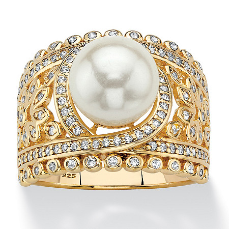 Simulated Pearl and Cubic Zirconia Floral Cocktail Ring .65 TCW in 14k Gold over Sterling Silver at PalmBeach Jewelry