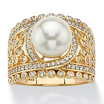 SETA JEWELRY Simulated Pearl and Cubic Zirconia Floral Cocktail Ring .65 TCW in 14k Gold over Sterling Silver