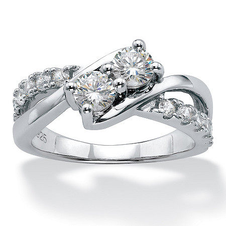 Round Cubic Zirconia 2-Stone Bypass Promise Ring 1.20 TCW in Platinum over Sterling Silver at PalmBeach Jewelry