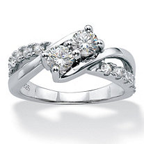 SETA JEWELRY Round Cubic Zirconia 2-Stone Bypass Promise Ring 1.20 TCW in Platinum over Sterling Silver