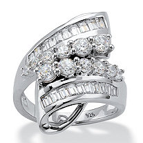 Round and Baguette Cubic Zirconia Bypass Cocktail Ring 2.29 TCW in Platinum over Sterling Silver