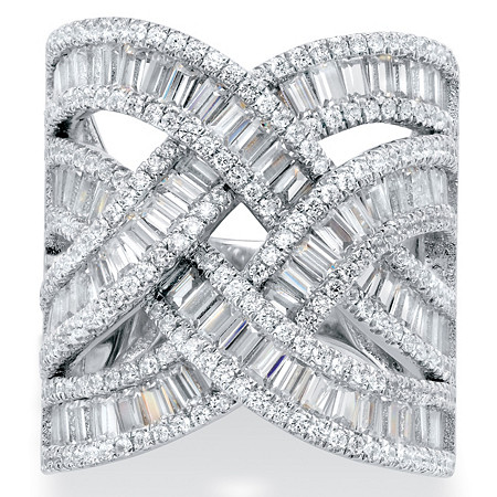 Tapered Baguette Cubic Zirconia Channel-Set Crossover Highway Ring 5.95 TCW in Platinum over Sterling Silver at PalmBeach Jewelry