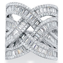 Tapered Baguette Cubic Zirconia Channel-Set Crossover Highway Ring 5.95 TCW in Platinum over Sterling Silver
