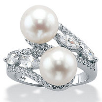 SETA JEWELRY Genuine Freshwater Cultured Pearl and Cubic Zirconia Bypass Ring 1.30 TCW in Sterling Silver (9mm)