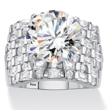 Round Cubic Zirconia Wide Multi-Row Ring 8.99 TCW in Platinum over Sterling Silver at PalmBeach Jewelry
