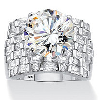 Round Cubic Zirconia Wide Multi-Row Ring 8.99 TCW in Platinum over Sterling Silver