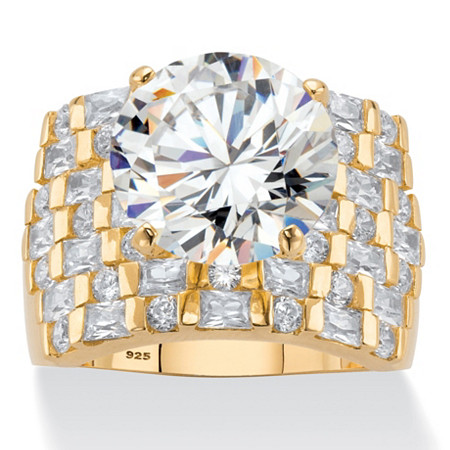 Round Cubic Zirconia Wide Multi-Row Ring 8.99 TCW in 18k Gold over Sterling Silver at PalmBeach Jewelry