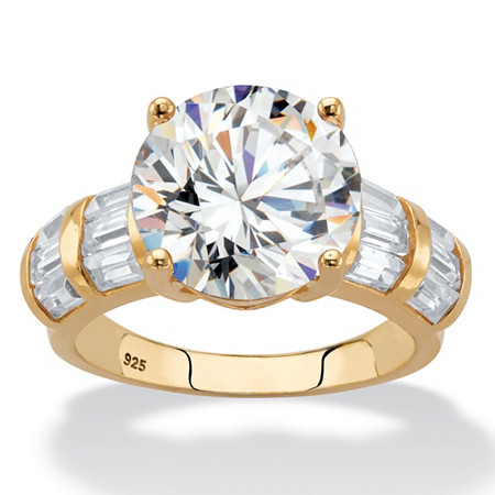 Round Cubic Zirconia Engagement Ring 7.52 TCW in 18k Yellow Gold over Sterling Silver at PalmBeach Jewelry