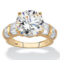 SETA JEWELRY Round Cubic Zirconia Engagement Ring 7.52 TCW in 18k Yellow Gold over Sterling Silver