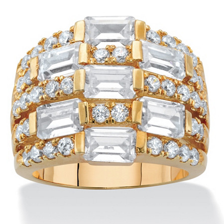 Emerald-Cut Cubic Zirconia Multi-Row Dome Ring 4.75 TCW 14k Gold-Plated at PalmBeach Jewelry