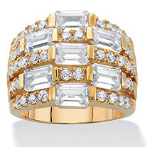 Emerald-Cut Cubic Zirconia Multi-Row Dome Ring 4.75 TCW 14k Gold-Plated