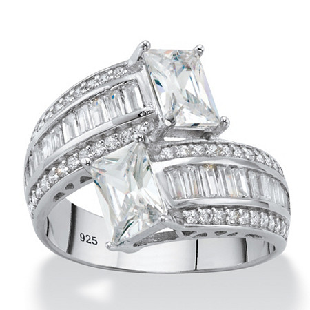 Emerald-Cut Cubic Zirconia Bypass Cocktail Ring 3.25 TCW in Platinum over Sterling Silver at PalmBeach Jewelry
