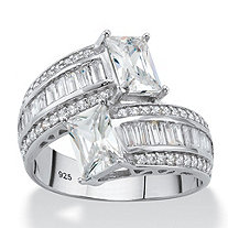 SETA JEWELRY Emerald-Cut Cubic Zirconia Bypass Cocktail Ring 3.25 TCW in Platinum over Sterling Silver