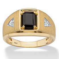 Genuine Emerald-Cut Onyx and Diamond Accent Men's Ring in Solid 10k Yellow Gold