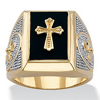 Emerald-Cut Genuine Black Onyx Cabochon Textured Cross Men's Ring 14k Gold-Plated