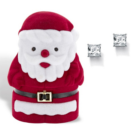 Princess-Cut Cubic Zirconia Stud Earrings 3.24 TCW in Silvertone with Free Santa Gift Box at PalmBeach Jewelry