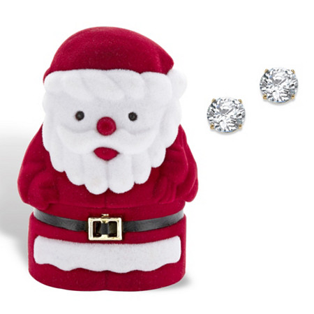 Round Cubic Zirconia Stud Earrings 1.80 TCW in Solid 10k Yellow Gold with Free Santa Gift Box at PalmBeach Jewelry