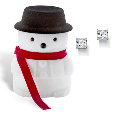 Princess-Cut Cubic Zirconia Stud Earrings 3.24 TCW in Silvertone with Free Snowman Box at PalmBeach Jewelry